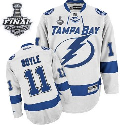 Tampa Bay Lightning Brian Boyle Official White Reebok Premier Adult Away 2015 Stanley Cup NHL Hockey Jersey
