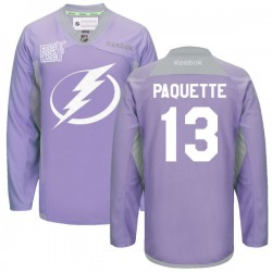 Tampa Bay Lightning Cedric Paquette Official Purple Reebok Premier Adult 2016 Hockey Fights Cancer Practice Jersey