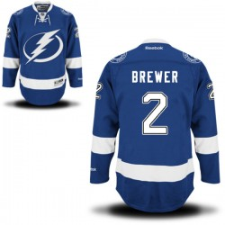 Tampa Bay Lightning Eric Brewer Official Royal Blue Reebok Authentic Adult Home NHL Hockey Jersey