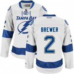 Tampa Bay Lightning Eric Brewer Official White Reebok Authentic Adult Road NHL Hockey Jersey