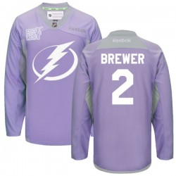 Tampa Bay Lightning Eric Brewer Official Purple Reebok Authentic Adult 2016 Hockey Fights Cancer Practice Jersey