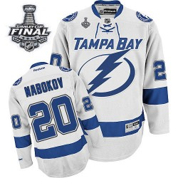Tampa Bay Lightning Evgeni Nabokov Official White Reebok Premier Adult Away 2015 Stanley Cup NHL Hockey Jersey