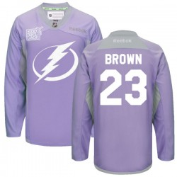 Tampa Bay Lightning J.t. Brown Official Purple Reebok Authentic Adult 2016 Hockey Fights Cancer Practice Jersey