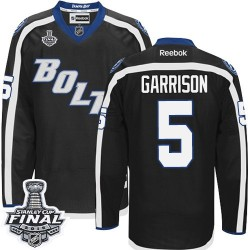 Tampa Bay Lightning Jason Garrison Official Black Reebok Authentic Adult Third 2015 Stanley Cup NHL Hockey Jersey