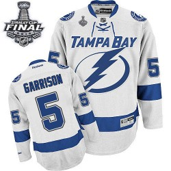 Tampa Bay Lightning Jason Garrison Official White Reebok Authentic Adult Away 2015 Stanley Cup NHL Hockey Jersey