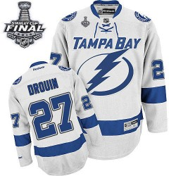 Tampa Bay Lightning Jonathan Drouin Official White Reebok Authentic Adult Away 2015 Stanley Cup NHL Hockey Jersey