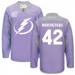 Tampa Bay Lightning Jonathan Marchessault Official Purple Reebok Premier Adult 2016 Hockey Fights Cancer Practice Jersey
