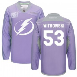 Tampa Bay Lightning Luke Witkowski Official Purple Reebok Premier Adult 2016 Hockey Fights Cancer Practice Jersey