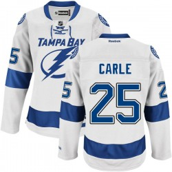Tampa Bay Lightning Matthew Carle Official White Reebok Authentic Adult Road NHL Hockey Jersey