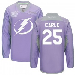 Tampa Bay Lightning Matthew Carle Official Purple Reebok Authentic Adult 2016 Hockey Fights Cancer Practice Jersey