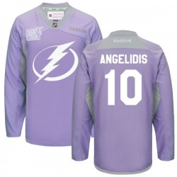 Tampa Bay Lightning Mike Angelidis Official Purple Reebok Authentic Adult 2016 Hockey Fights Cancer Practice Jersey