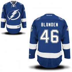 Tampa Bay Lightning Mike Blunden Official Royal Blue Reebok Premier Adult Home NHL Hockey Jersey