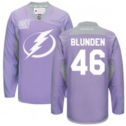 Tampa Bay Lightning Mike Blunden Official Purple Reebok Premier Adult 2016 Hockey Fights Cancer Practice Jersey