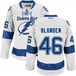 Tampa Bay Lightning Mike Blunden Official White Reebok Authentic Adult Road NHL Hockey Jersey