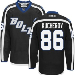Tampa Bay Lightning Nikita Kucherov Official Black Reebok Authentic Adult Third NHL Hockey Jersey
