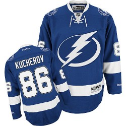 Tampa Bay Lightning Nikita Kucherov Official Royal Blue Reebok Premier Adult Home NHL Hockey Jersey