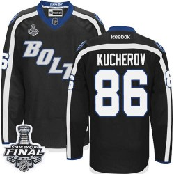Tampa Bay Lightning Nikita Kucherov Official Black Reebok Authentic Adult Third 2015 Stanley Cup NHL Hockey Jersey