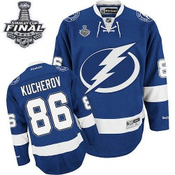 Tampa Bay Lightning Nikita Kucherov Official Royal Blue Reebok Premier Adult Home 2015 Stanley Cup NHL Hockey Jersey