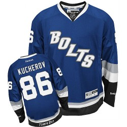 Tampa Bay Lightning Nikita Kucherov Official Royal Blue Reebok Premier Adult Third NHL Hockey Jersey
