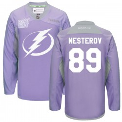 Tampa Bay Lightning Nikita Nesterov Official Purple Reebok Premier Adult 2016 Hockey Fights Cancer Practice Jersey