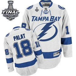 Tampa Bay Lightning Ondrej Palat Official White Reebok Premier Adult Away 2015 Stanley Cup NHL Hockey Jersey