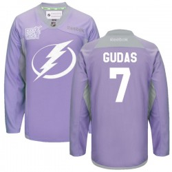 Tampa Bay Lightning Radko Gudas Official Purple Reebok Premier Adult 2016 Hockey Fights Cancer Practice Jersey