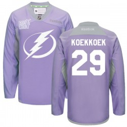 Tampa Bay Lightning Slater Koekkoek Official Purple Reebok Premier Adult 2016 Hockey Fights Cancer Practice Jersey