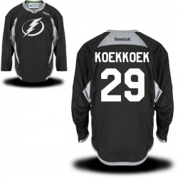 Tampa Bay Lightning Slater Koekkoek Official Black Reebok Authentic Adult Practice Team NHL Hockey Jersey