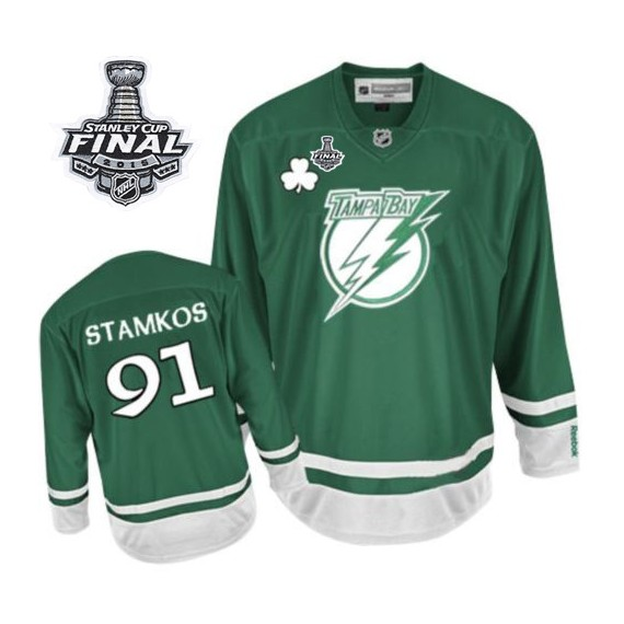 Tampa Bay Lightning Steven Stamkos Official Green Reebok Authentic Adult St Patty's Day 2015 Stanley Cup NHL Hockey Jersey