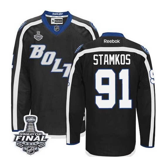 Tampa Bay Lightning Steven Stamkos Official Black Reebok Authentic Adult Third 2015 Stanley Cup NHL Hockey Jersey