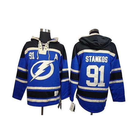 Tampa Bay Lightning Steven Stamkos Official Blue Old Time Hockey Authentic Adult Sawyer Hooded Sweatshirt Jersey