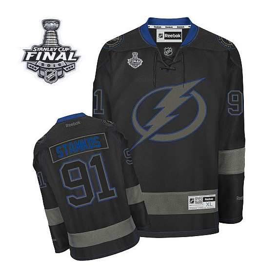 Tampa Bay Lightning Steven Stamkos Official Black Ice Reebok Authentic Adult 2015 Stanley Cup NHL Hockey Jersey