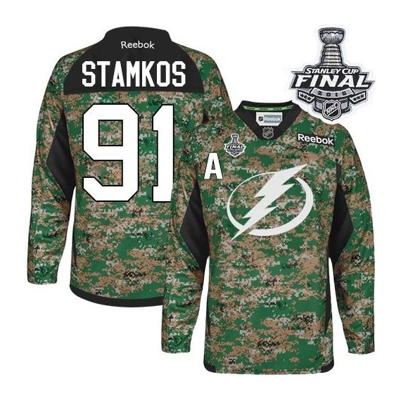 Tampa Bay Lightning Steven Stamkos Official Camo Reebok Authentic Adult Veterans Day Practice 2015 Stanley Cup NHL Hockey Jersey
