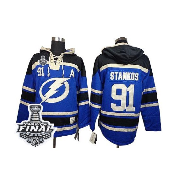 Tampa Bay Lightning Steven Stamkos Official Royal Blue Old Time Hockey Authentic Adult Sawyer Hooded Sweatshirt 2015 Stanley Cup