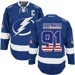 Tampa Bay Lightning Steven Stamkos Official Royal Blue Reebok Authentic Adult USA Flag Fashion NHL Hockey Jersey