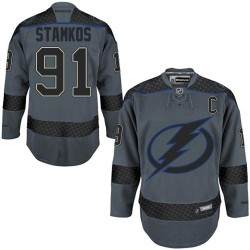 Tampa Bay Lightning Steven Stamkos Official Reebok Premier Adult Charcoal Cross Check Fashion NHL Hockey Jersey