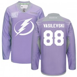 Tampa Bay Lightning Andrei Vasilevskiy Official Purple Reebok Premier Adult 2016 Hockey Fights Cancer Practice Jersey