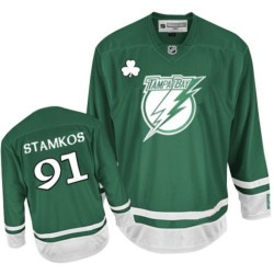 Tampa Bay Lightning Steven Stamkos Official Green Reebok Authentic Youth St Patty's Day NHL Hockey Jersey