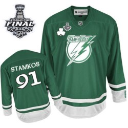 Tampa Bay Lightning Steven Stamkos Official Green Reebok Authentic Youth St Patty's Day 2015 Stanley Cup NHL Hockey Jersey