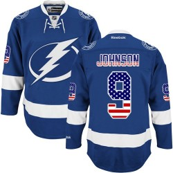 Tampa Bay Lightning Tyler Johnson Official Royal Blue Reebok Premier Adult USA Flag Fashion NHL Hockey Jersey