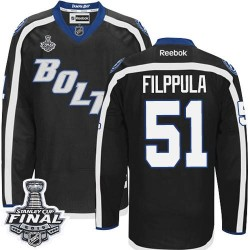 Tampa Bay Lightning Valtteri Filppula Official Black Reebok Authentic Adult Third 2015 Stanley Cup NHL Hockey Jersey