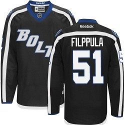 Tampa Bay Lightning Valtteri Filppula Official Black Reebok Authentic Adult Third NHL Hockey Jersey