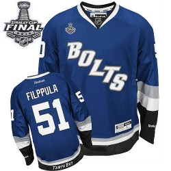 Tampa Bay Lightning Valtteri Filppula Official Royal Blue Reebok Authentic Adult Third 2015 Stanley Cup NHL Hockey Jersey