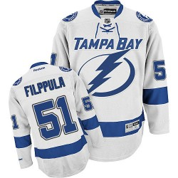 Tampa Bay Lightning Valtteri Filppula Official White Reebok Authentic Adult Away NHL Hockey Jersey