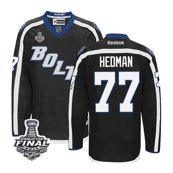 Tampa Bay Lightning Victor Hedman Official Black Reebok Authentic Adult Third 2015 Stanley Cup NHL Hockey Jersey