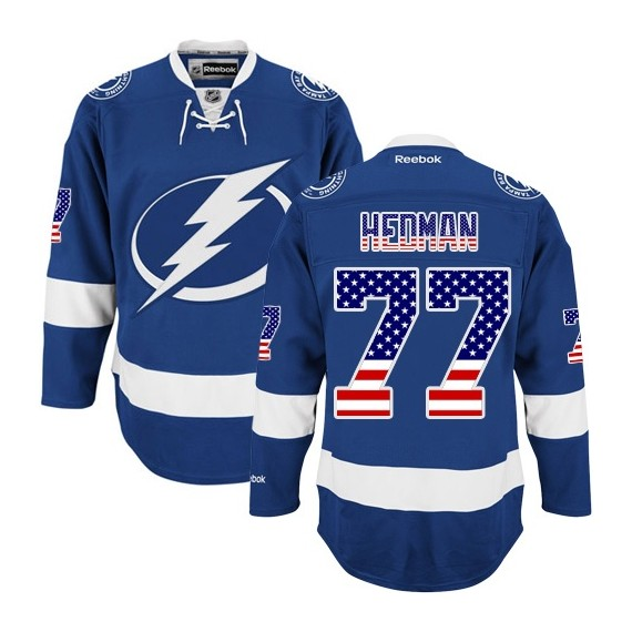 Tampa Bay Lightning Victor Hedman Official Royal Blue Reebok Authentic Adult USA Flag Fashion NHL Hockey Jersey