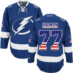 Tampa Bay Lightning Victor Hedman Official Royal Blue Reebok Premier Adult USA Flag Fashion NHL Hockey Jersey
