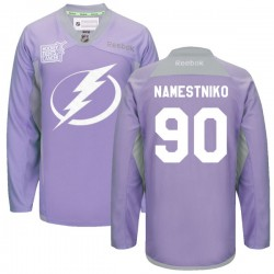 Tampa Bay Lightning Vladislav Namestnikov Official Purple Reebok Premier Adult 2016 Hockey Fights Cancer Practice Jersey