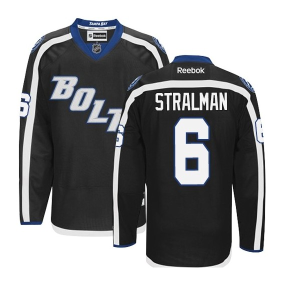 Tampa Bay Lightning Anton Stralman Official Black Reebok Authentic Adult Third NHL Hockey Jersey