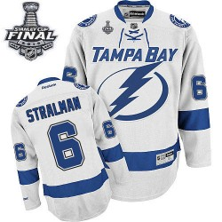 Tampa Bay Lightning Anton Stralman Official White Reebok Authentic Adult Away 2015 Stanley Cup NHL Hockey Jersey